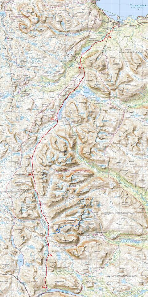Abisko – Kebnekaise – Kaitumjaure (Quelle: Lantmäteriet, Schweden)