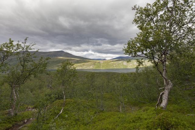 Blick zurück nach Teusejaure – wir gewinnen schnell an Höhe,©Markus Proske—Canon EOS 5D Mark II, EF16-35mm f/4L IS USM, 16mm, 1/80s, Blende 8, ISO 200
