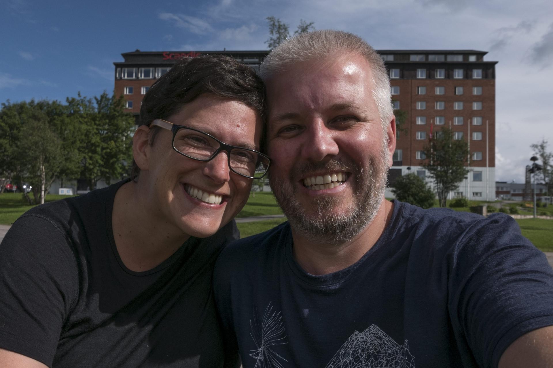 Selfie in Kiruna auf dem Weg zum Airport