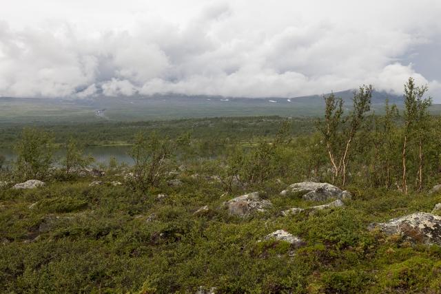 Blick zurück, die Berge wieder in den Wolken, man sieht den Gasskagårsåjågåsj, den wir gefurtet haben,©Markus Proske—Canon EOS 5D Mark II, EF16-35mm f/4L IS USM, 35mm, 1/160s, Blende 8, ISO 200