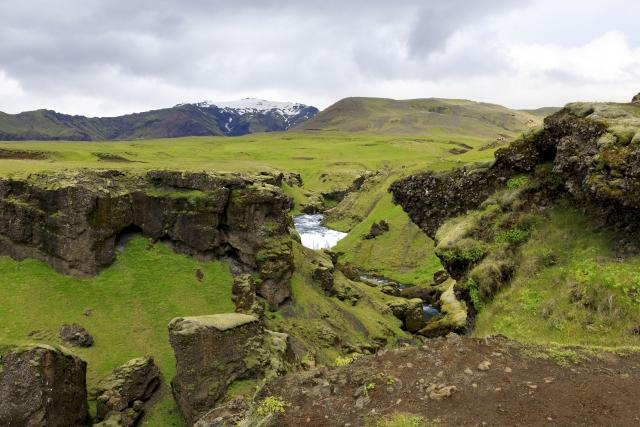 Wasserfall der Skógá, im Hintergrund der Eyjafjallajökull,©Markus Proske—Canon EOS 5D Mark IV, EF16-35mm f/4L IS USM, 35mm, 1/50s, Blende 11, ISO 200