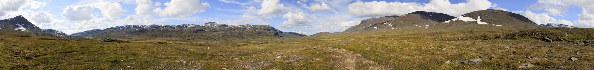 Panorama Blick von Tjäktja Richtung Alesjaure, von Westen nach Osten