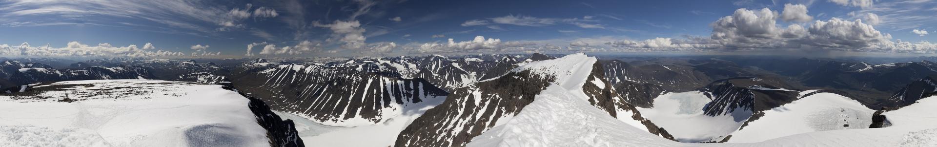 Panorama Blick vom Südgipfel des Kebnekaise – von Süden über Westen, Norden, Osten wieder nach Süden
