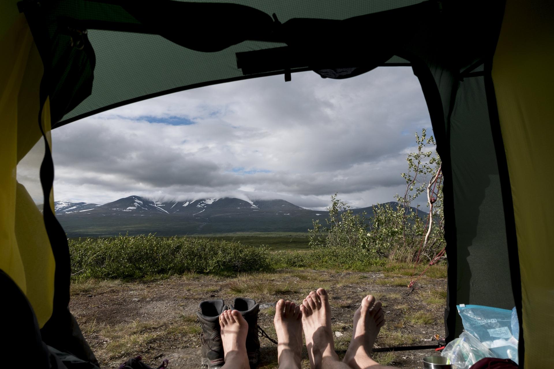 Ausblick aus dem Zelt nach dem Essen