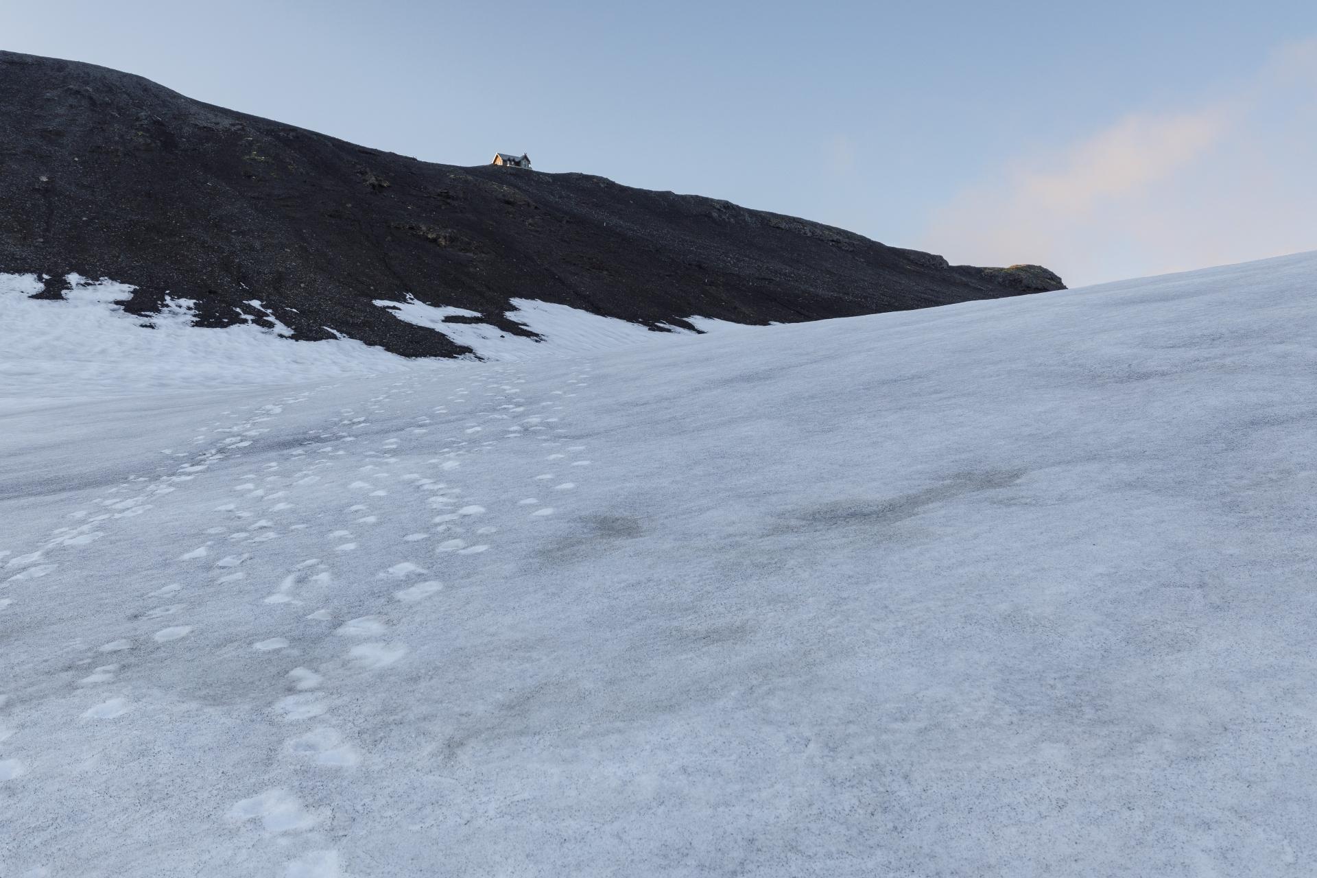 Ein letzter steiler Aufstieg zur Fimmvörðuskáli