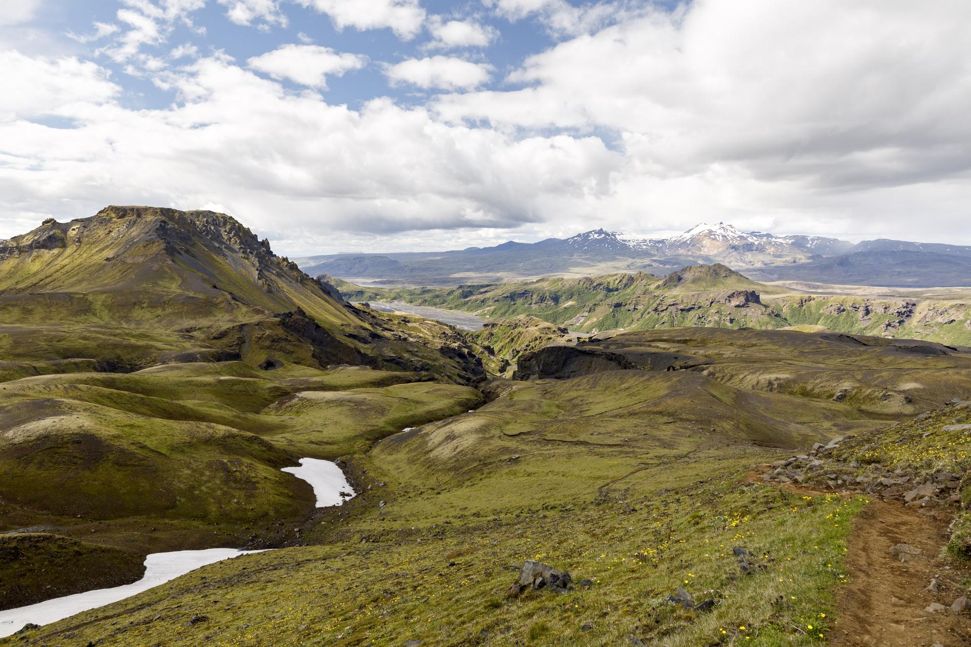 Goðaland mit Útigönguhöfði und dem Fluß Krossa