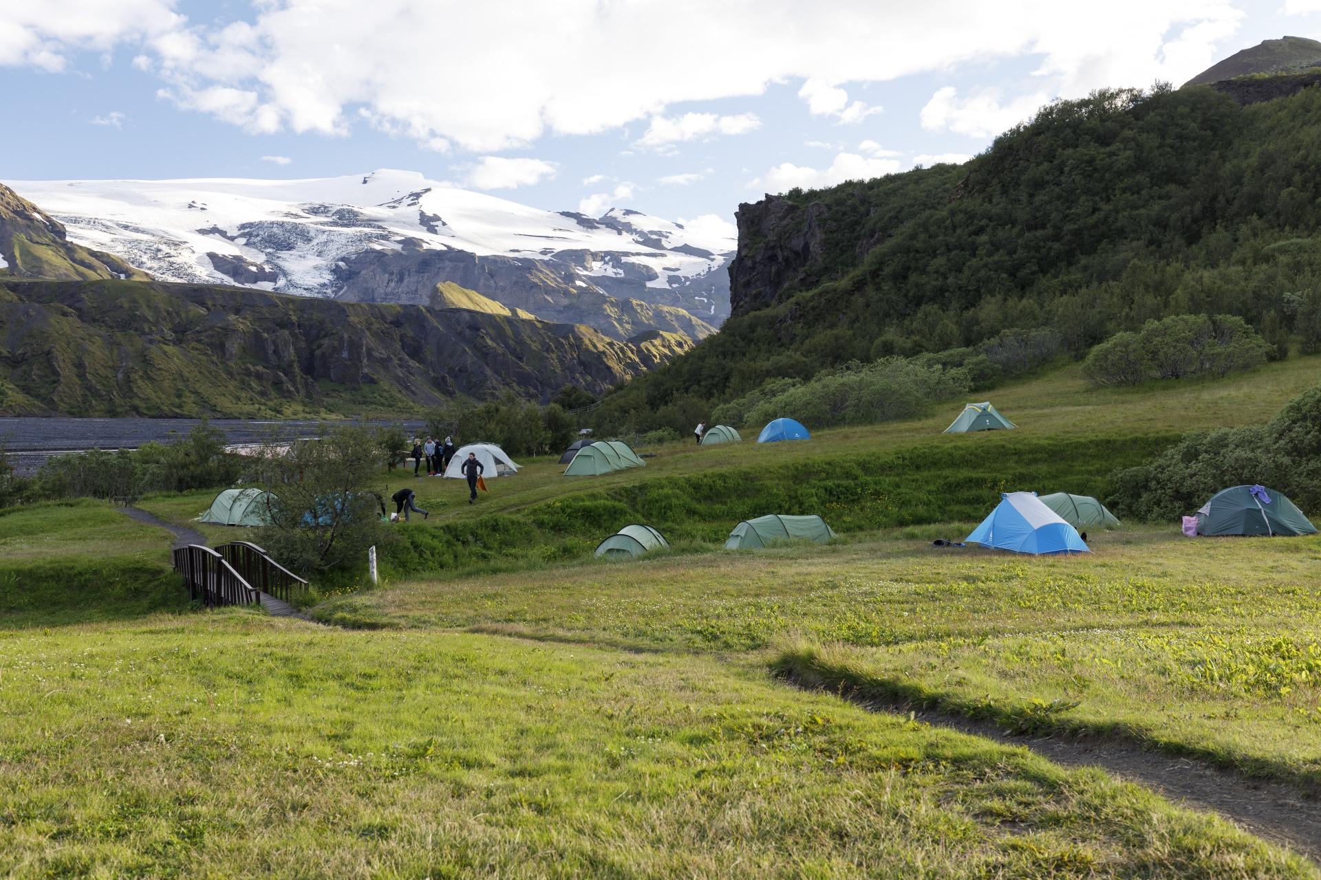 Camp Langidalur mit Blick auf den Eyjafjallajökull