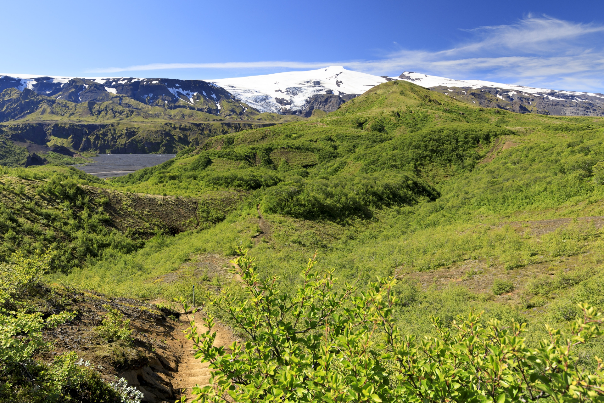 Þórsmörk, Krossá und Eyjafjallajökull