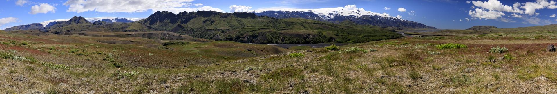Mýrdalsjökull, Þórsmörk, Eyjafjallajökull Þröngá und Markarfljót