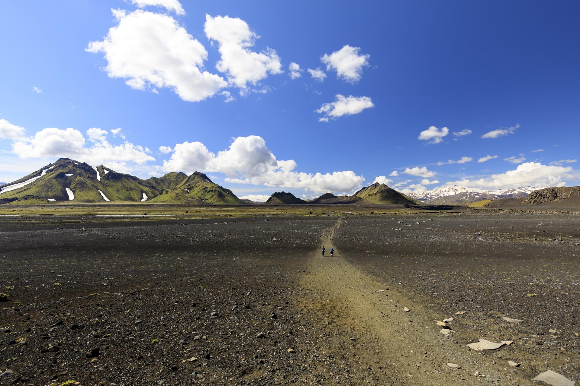 Blick zurück auf Smáfjallarani und Útigönguhöfðar