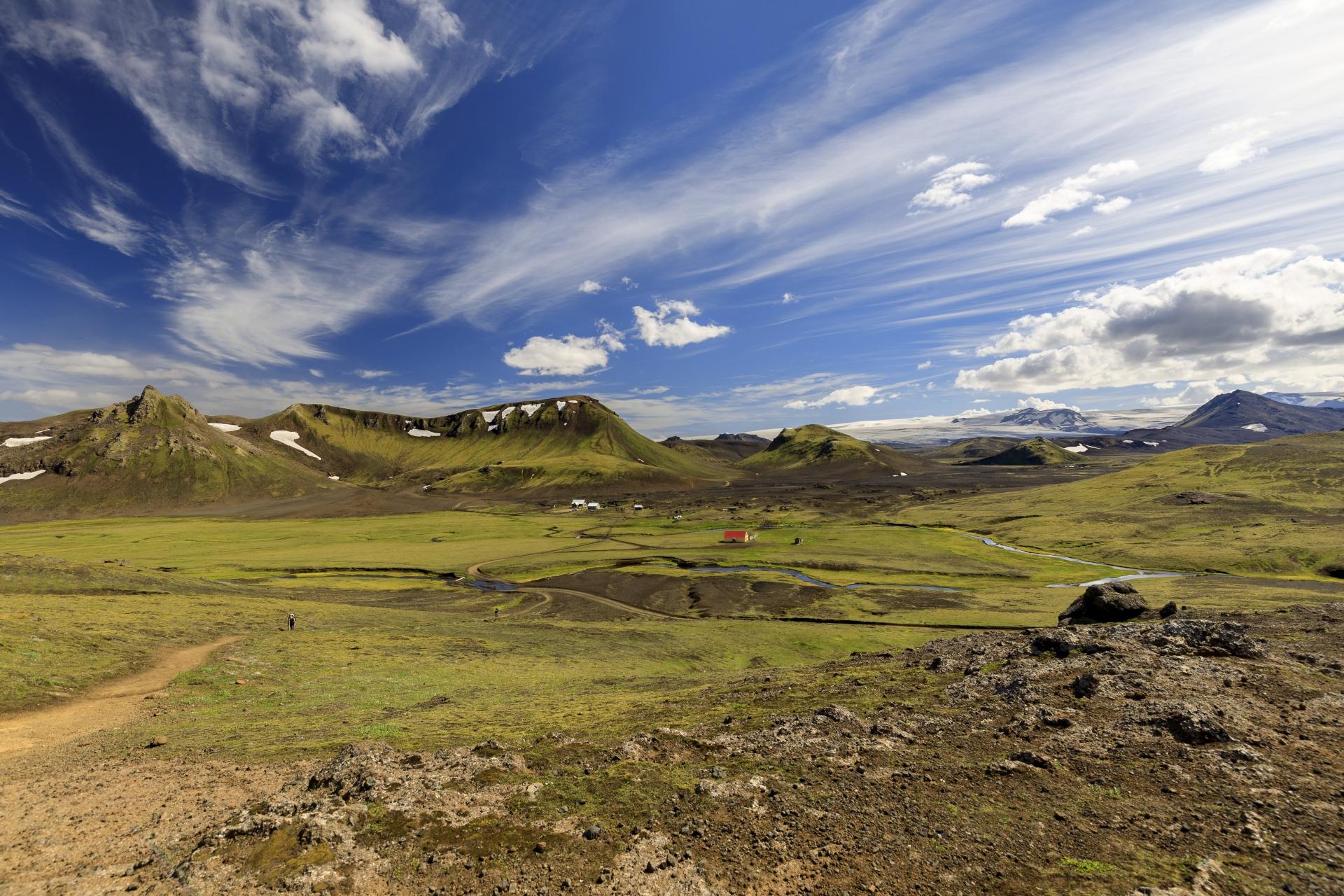 Camp Hvanngil mit Hvanngilshausar und im Hintergrund der Mýrdalsjökull