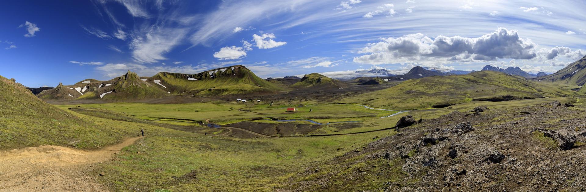 Camp Hvanngil mit Hvanngilshausar und im Hintergrund der Mýrdalsjökull und der Eyjafjallajökull