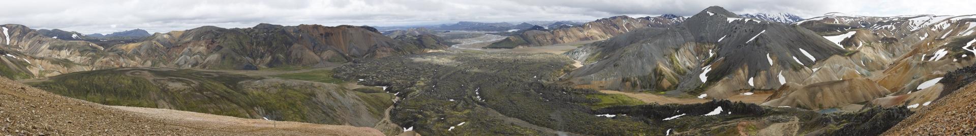 Panorama mit Suðurnámur, Laugahraun und Bláhnúkur