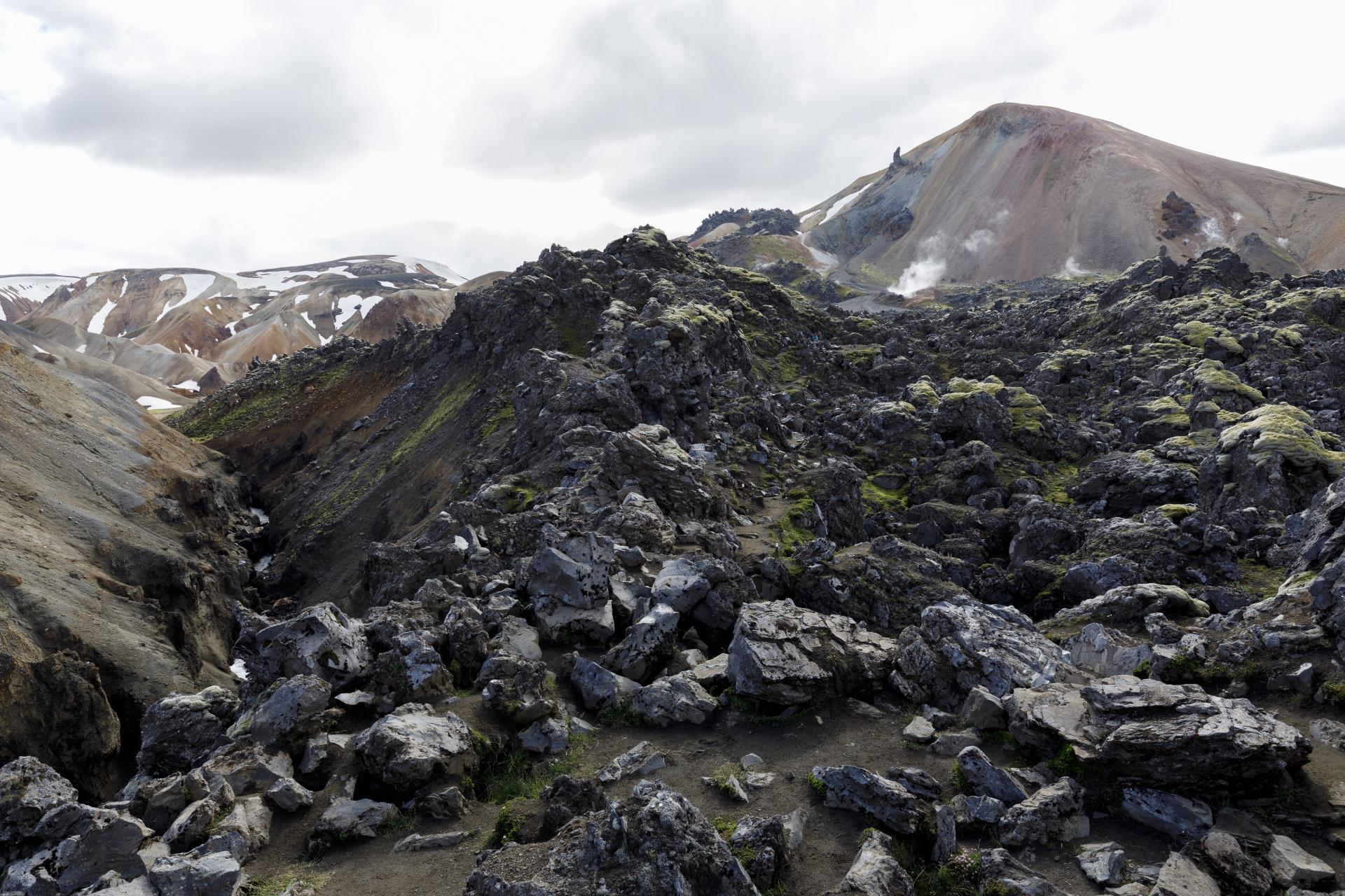 Weg durch das Lavafeld Laugahraun