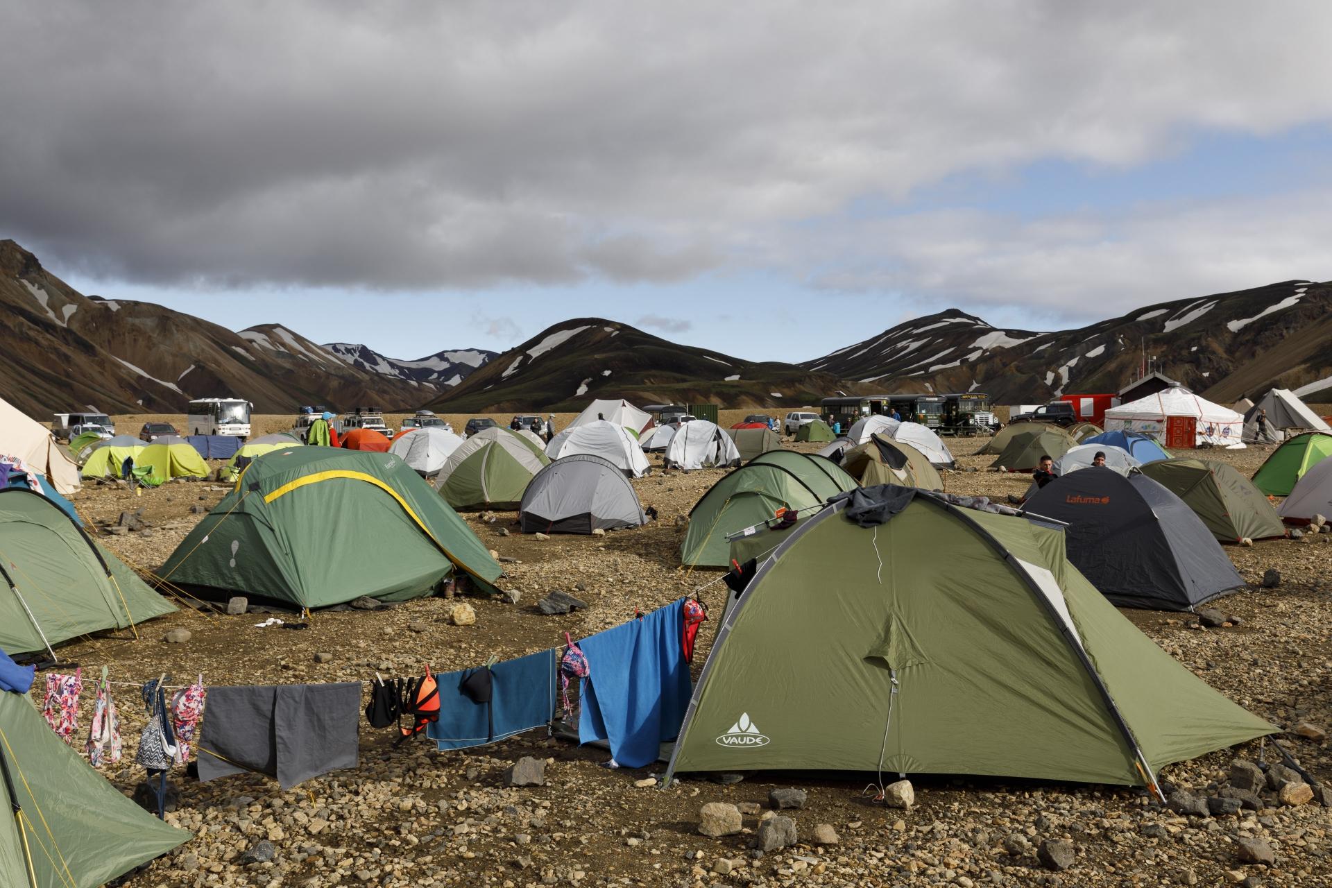 Kein schöner Zeltplatz in Landmannalaugar