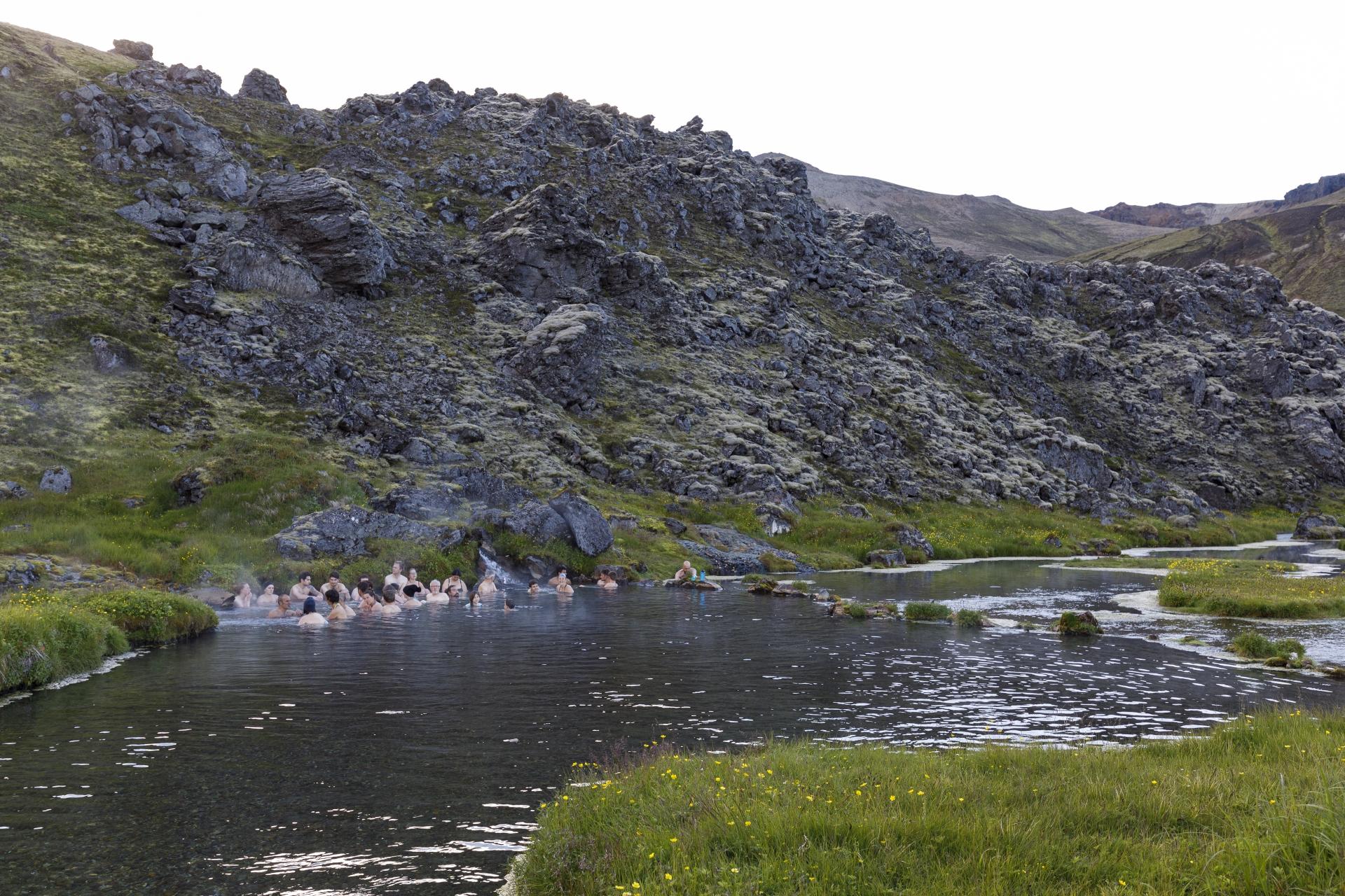 Bad in der heissen Quelle von Landmannalaugar
