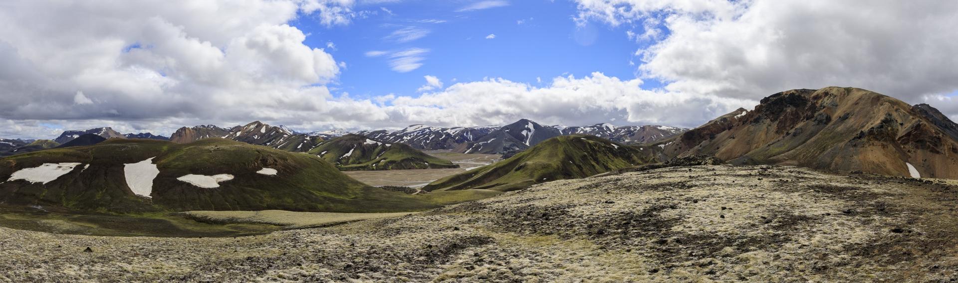 Blick vom Suðurnámshorn in Richtung Landmannalaugar
