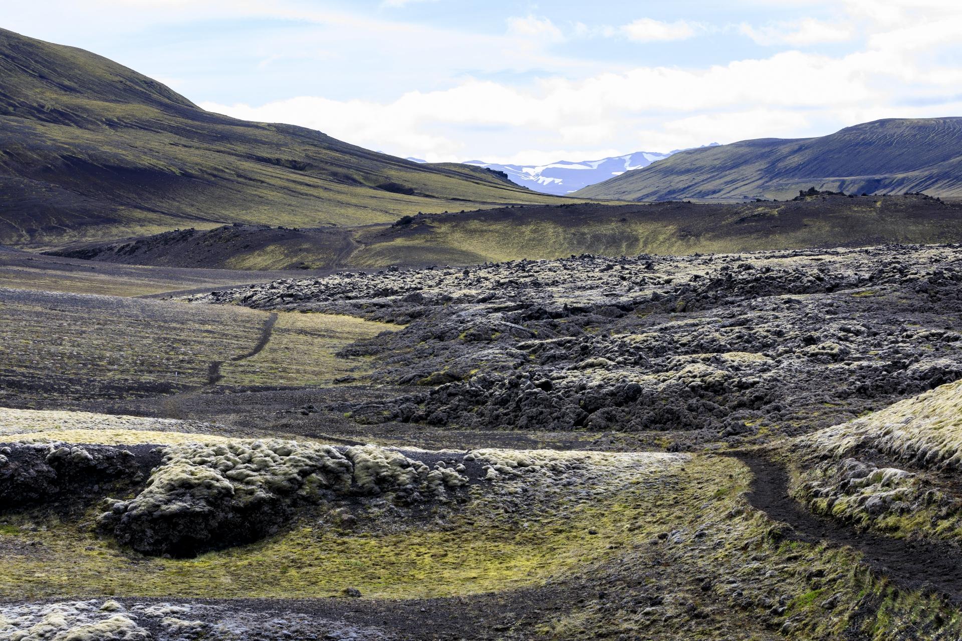 Blick zurück auf den Weg am Rand des Lavafeldes Lambafitjarhraun