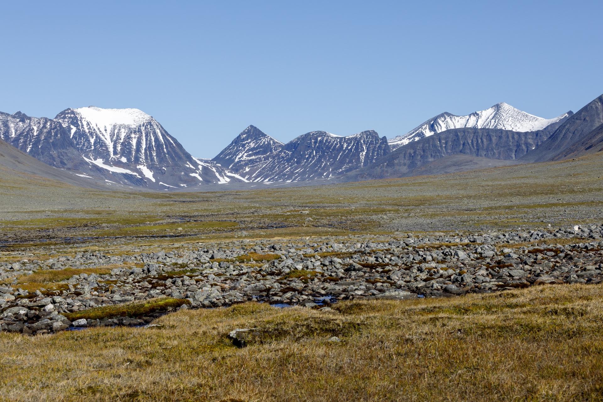 Im Stuor Reaiddávággi mit  Blick auf die Gipfel des Tjäktjajåkka, Šielmmácohkka und Nállu