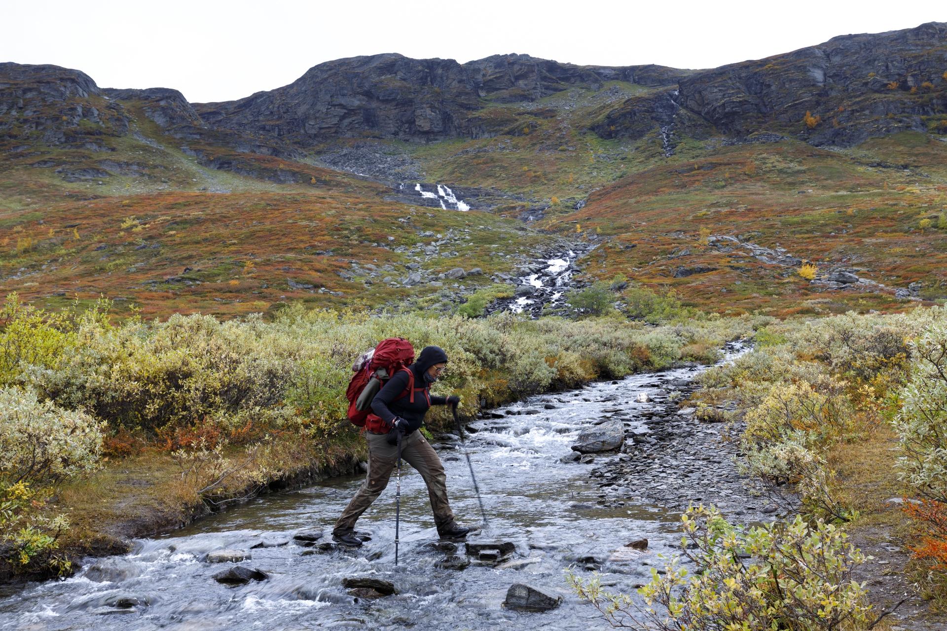 Viele kleine Flüsse sind im Kårsavagge zu queren