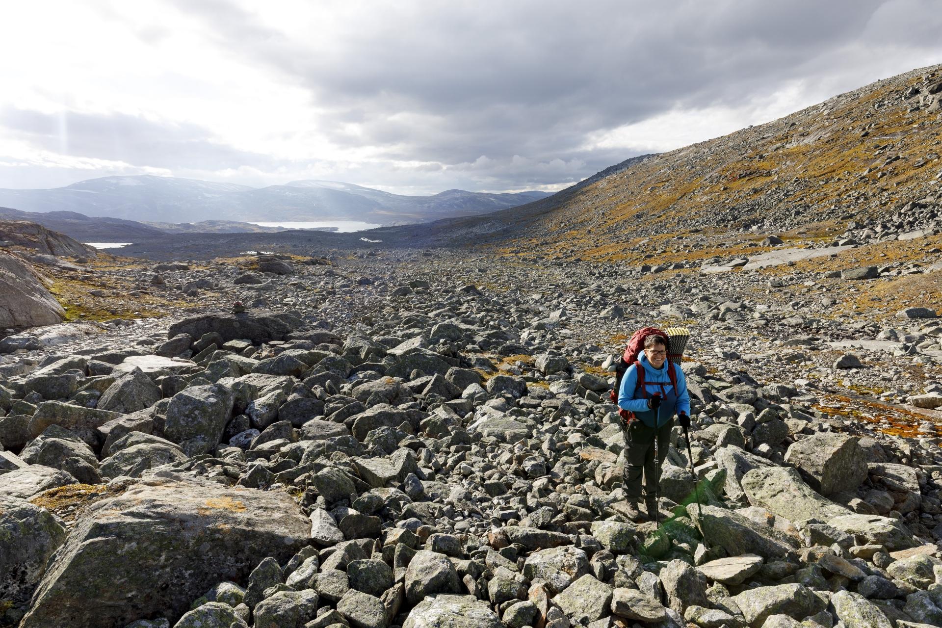 Elisabeth beim Aufstieg ins Čáihnavagge