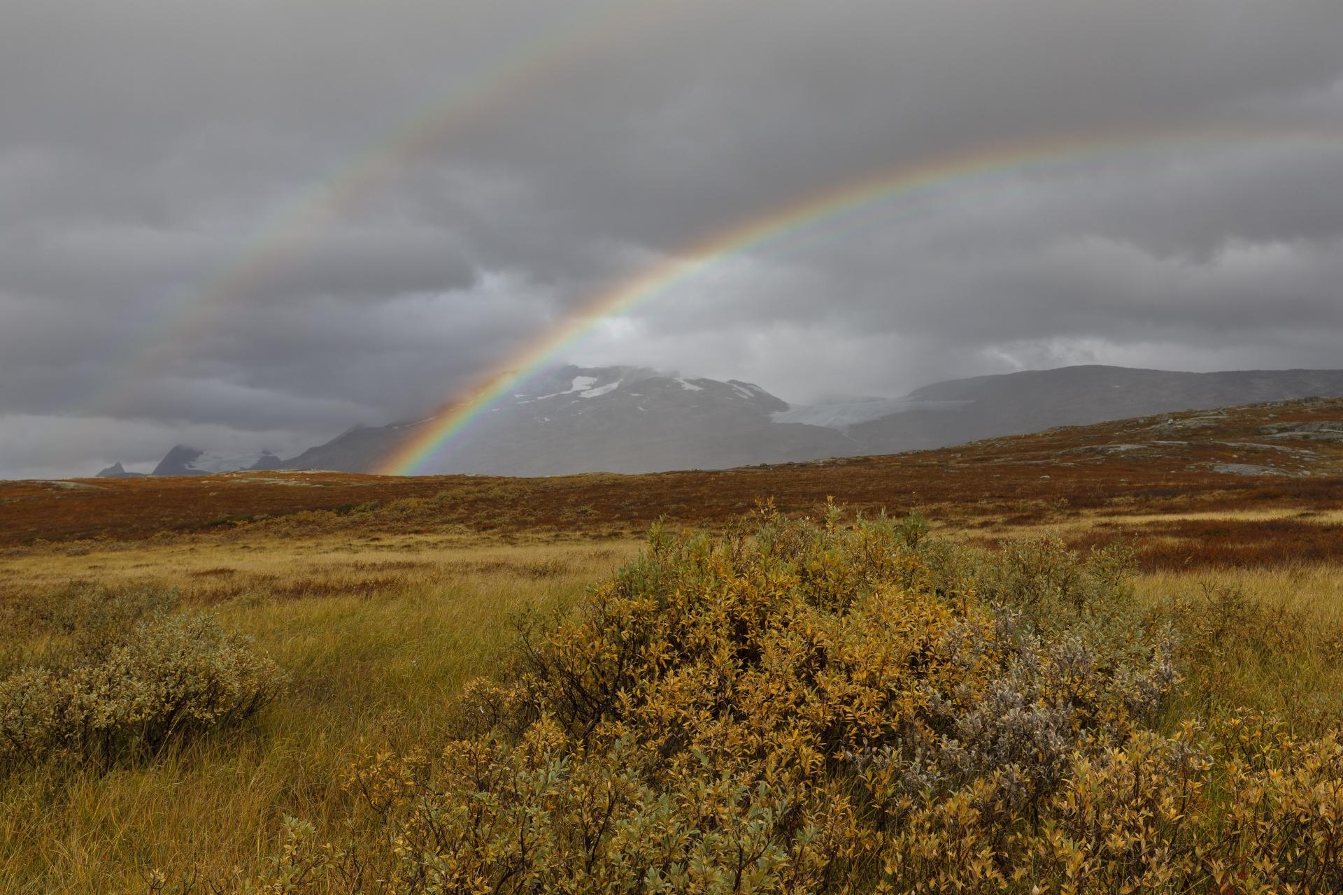 Doppelregenbogen, das Storsteinsfjellet liegt leider in den Wolken