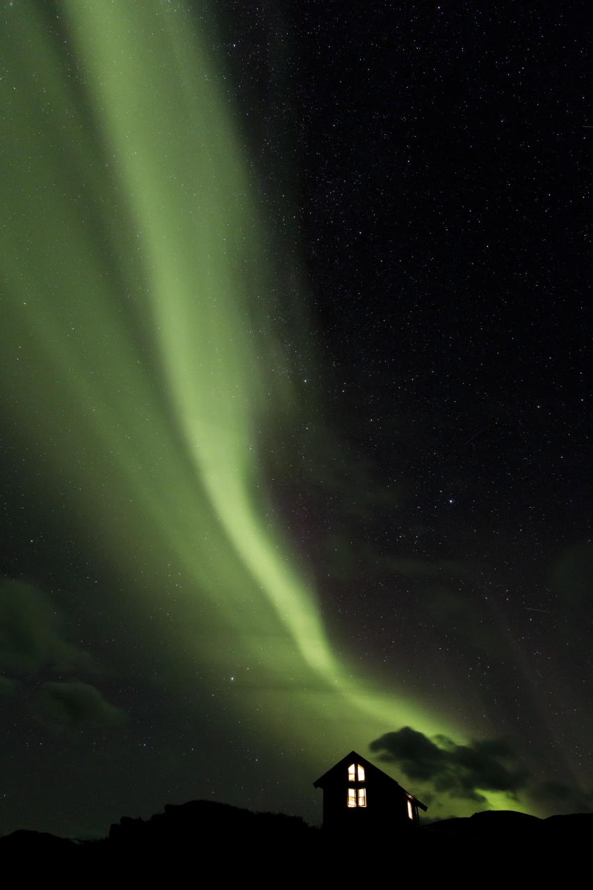 Aurora borealis in Čunojávrre